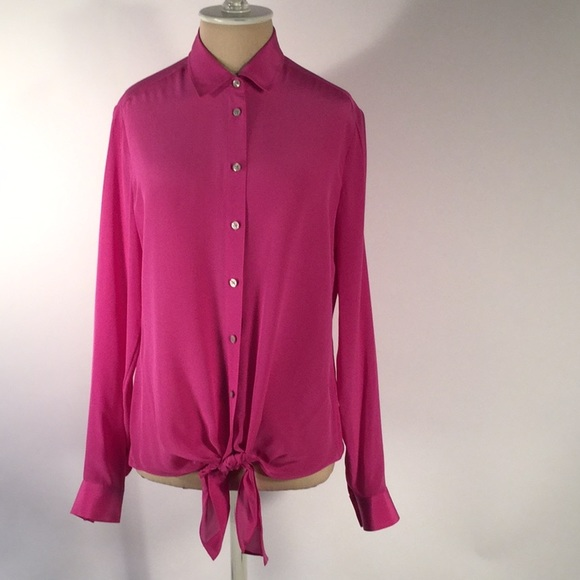 94c118faed619a Banana Republic Tops | Solid Pink Fuschia Silky Fronttie Ls Blouse ...